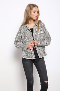 LEOPARD PRINTED HEAVY DENIM OVERSIZE JACKET