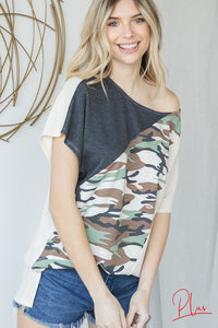 Cute Basic Army Printed Top