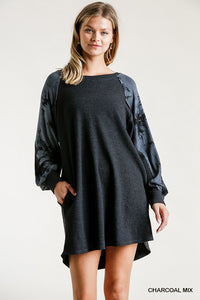 Raglan Knit Dress with Pockets
