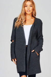 KNIT CARDIGAN - CHUNKY KNIT OPEN ELBOW