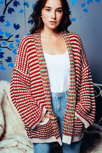 CONTRAST CHENILLE RAINBOW STRIPED CARDIGAN