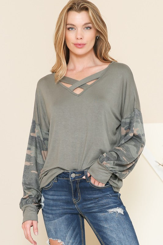 Criss Cross Olive Top with Camo Sleeves