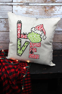 GRINCH LOVE LEOPARD DECORATIVE PILLOW COVER