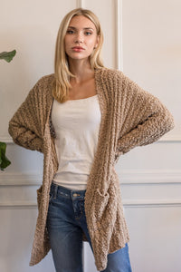Popcorn Knit Long Cardigan