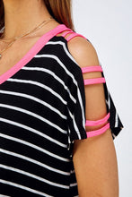 Load image into Gallery viewer, Pop of Neon Strappy Cutout Stripe Top