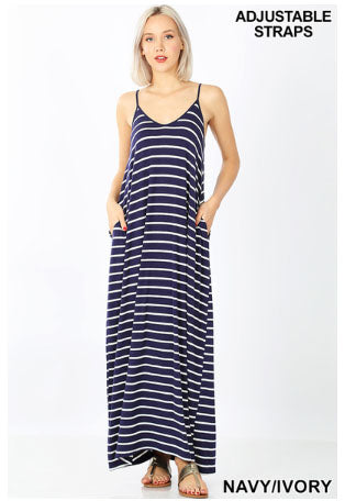 STRIPE CAMI MAXI DRESS WITH POCKET