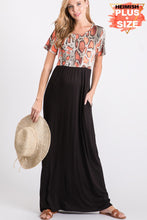 Load image into Gallery viewer, Snakeskin & Solid Contrast Maxi Dress