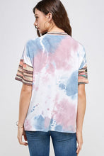 Load image into Gallery viewer, Stripe and Keyhole Accent Tie Dye Top