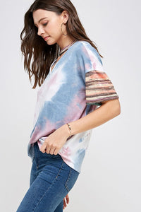 Stripe and Keyhole Accent Tie Dye Top