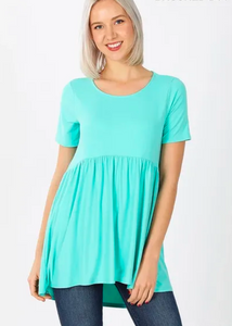 Brushed DTY Short Sleeve with Waist Shirring Top