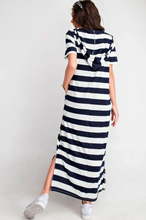 Load image into Gallery viewer, Endless Summer Short Sleeve Rugby Stripe Hoodie Maxi Knit Dress