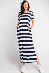 Endless Summer Short Sleeve Rugby Stripe Hoodie Maxi Knit Dress