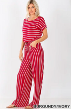 Load image into Gallery viewer, Stripe Jumpsuit - Elastic Waist - Back Keyhole