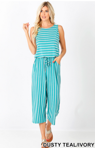 Stripe Sleeveless Capri Jumpsuit with Pocket