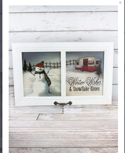 15 X 23.5 'WINTER WISHES' CAMPER AND SNOWMAN WINDOW WALL DECOR