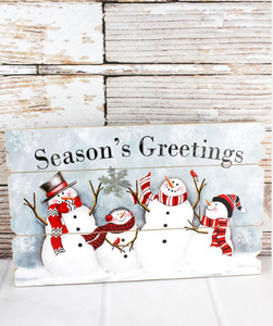 Season's Greetings Snowman Quartet Wood Wall Sign