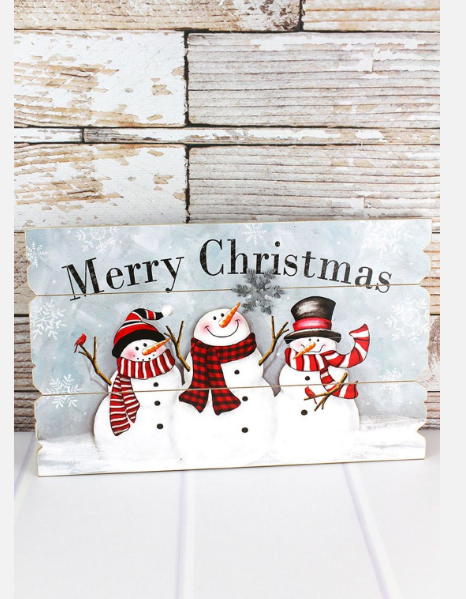 'Merry Christmas' Snowman Trio Wood Wall Sign
