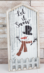 LET IT SNOW' SNOWMAN WOOD FRAMED METAL WALL SIGN