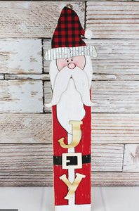 Joy Santa or Noel Snowman wood with metal wall sign