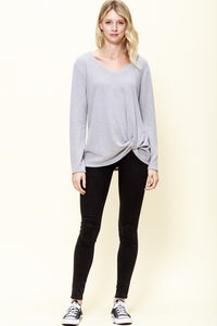 FLEECED V-NECK TWISTED FRONT KNIT TOP