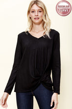 Load image into Gallery viewer, FLEECED V-NECK TWISTED FRONT KNIT TOP