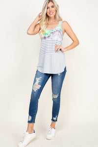 TIE DYE WITH STRIPED RACER BACK TANK TOP