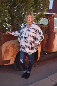Tie-Dye Non-Brushed Top with a Choker V-Neckline and Dolman Long Sleeves
