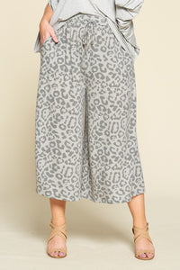 Wide Leg Animal Print Trousers