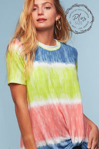 TIE DYE SHORT SLEEVE KNOTTED TWIST TOP