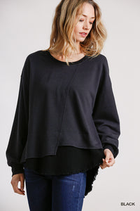 Frayed Long Sleeve Layered Top