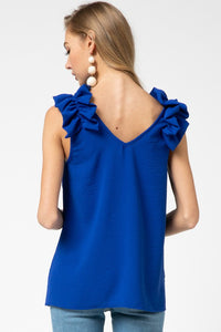 CREPE KNIT V NECK TOP WITH RUFFLE APPLIQUE