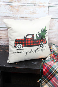 MERRY CHRISTMAS BUFFALO PLAID TRUCK DECORATIVE PILLOW COVER
