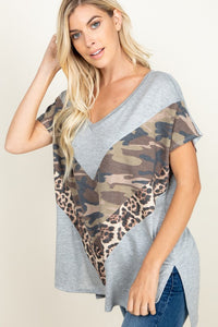 PARTIAL ANIMAL AND CAMO PRINTED TOP