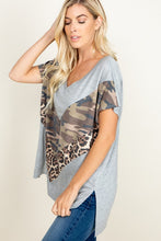 Load image into Gallery viewer, PARTIAL ANIMAL AND CAMO PRINTED TOP