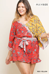 Floral Mixed Print Bell Sleeve V-Neck Crossbody Short Romper