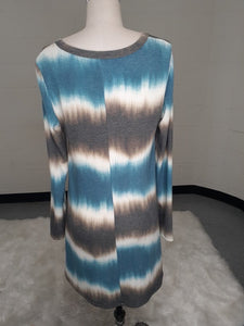 Tie Dye Long Sleeve V-Neck Dress