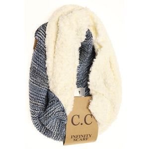 Popcorn Heathered Sherpa Lined Knit CC Scarf