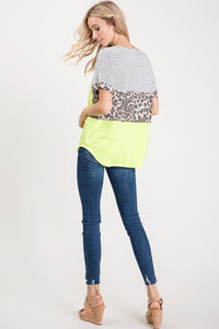 Neon Animal Color Block Top