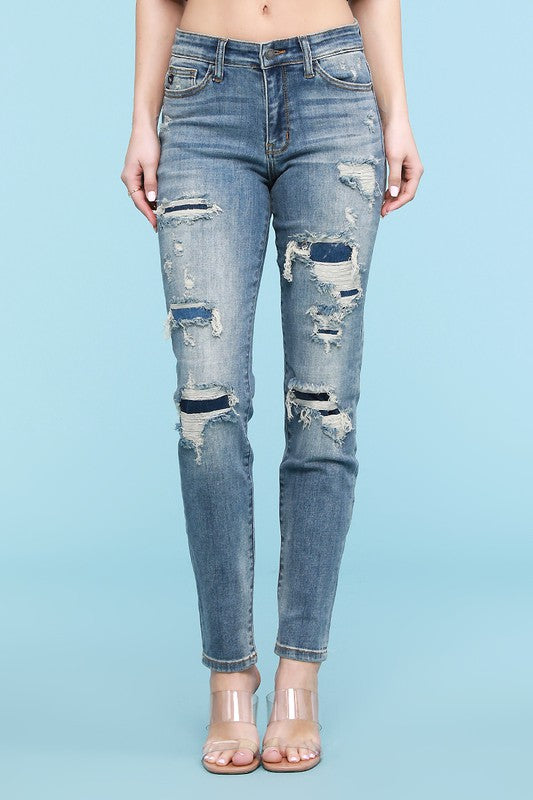 Judy Blue Destroyed Patched Tapered Slim