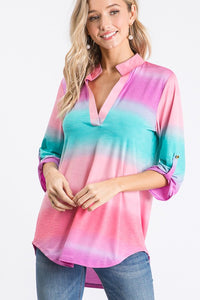 MULTI OMBRE PRINT COLLAR TOP
