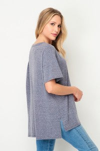Pocket Top V-Neck Navy