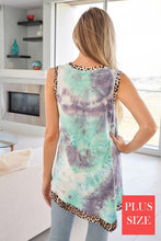 Load image into Gallery viewer, SLEEVELESS KNIT TOP WITH ANIMAL PRINT TRIM