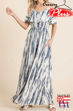 Load image into Gallery viewer, Tie Dye Ruffle Maxi