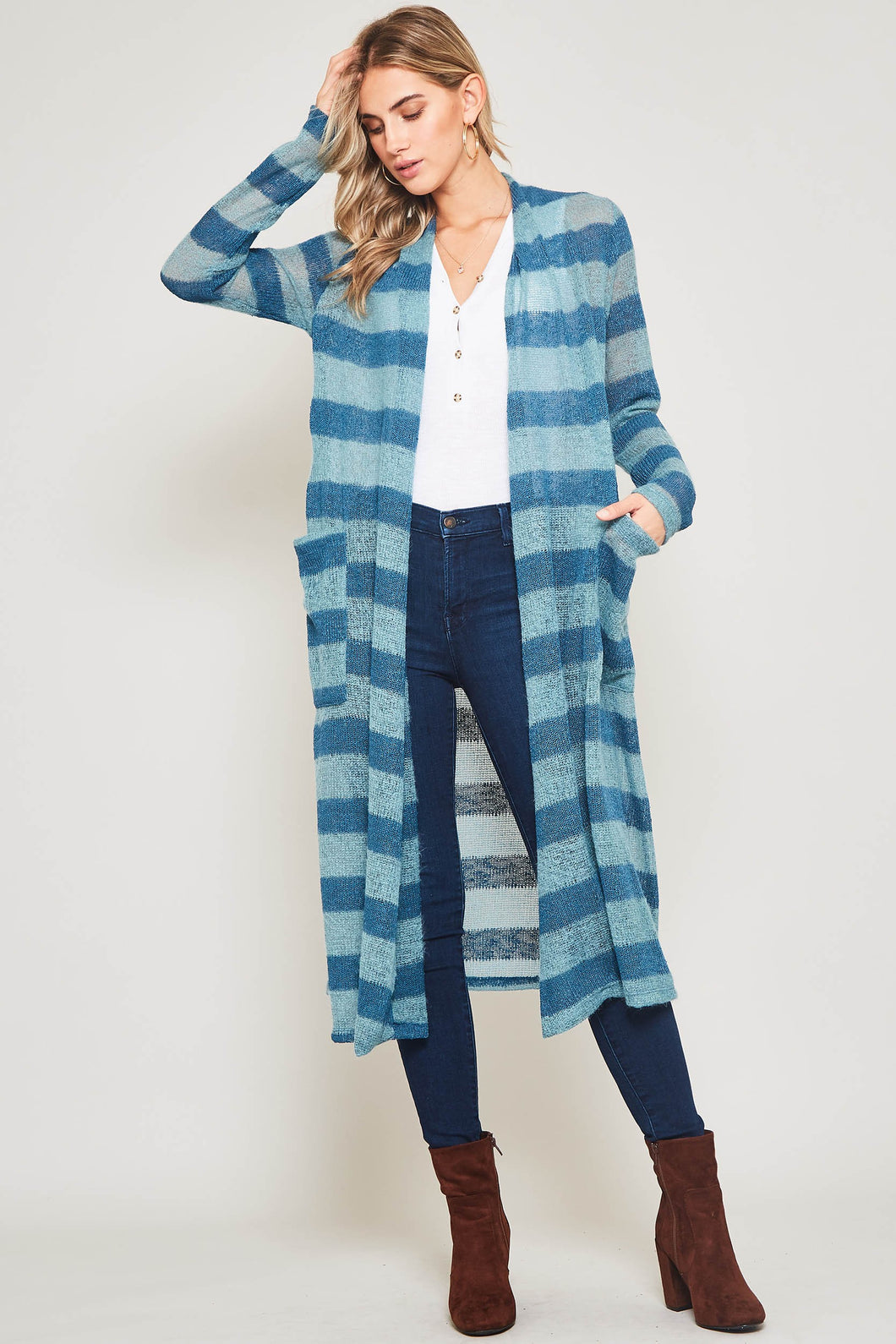 Stripe Tunic Cardigan