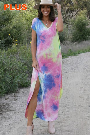 Tie Dye Maxi with pockets and Side Slit