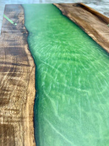Myrtle Wood + Green Resin Serving Board, resin and wood serving tray, resin river board. Epoxy charcuterie board.