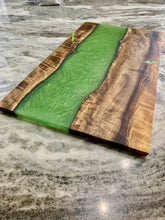 Load image into Gallery viewer, Myrtle Wood + Green Resin Serving Board, resin and wood serving tray, resin river board. Epoxy charcuterie board.