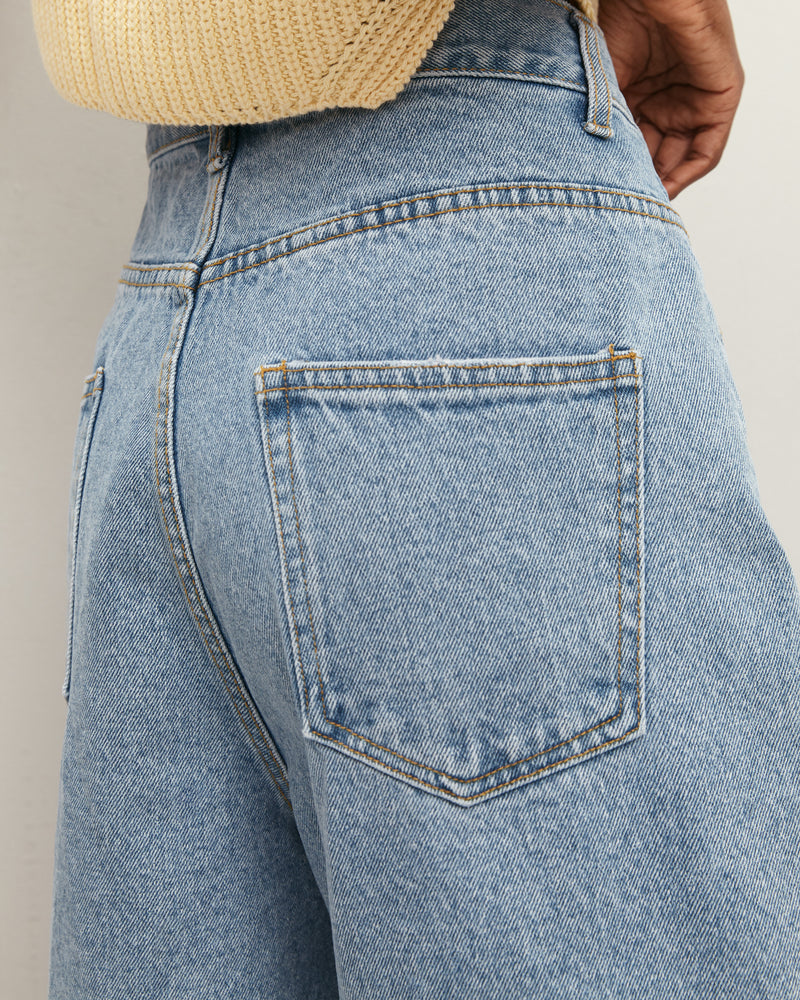 Light blue elongated denim shorts