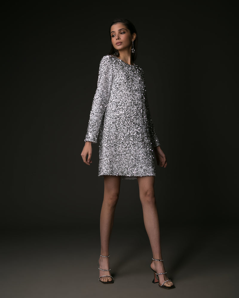 Silver sequin long sleeve mini dress