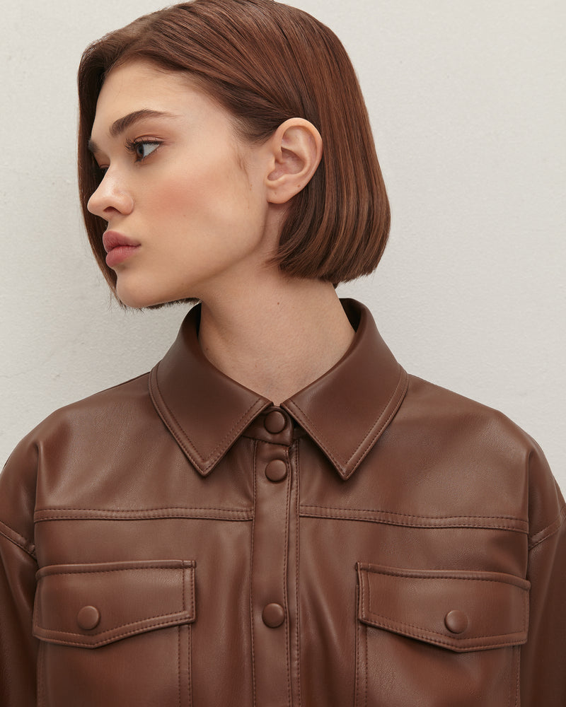 Eco-leather chocolate-colored shirt